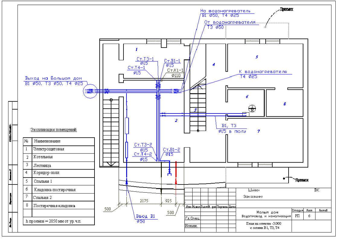 Водопровод и канализация в частном доме своими руками примеры чертежи 75